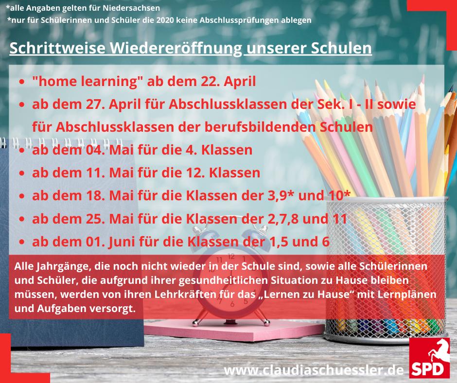 Bild: Planz zur Wiederöffnung der Schulen